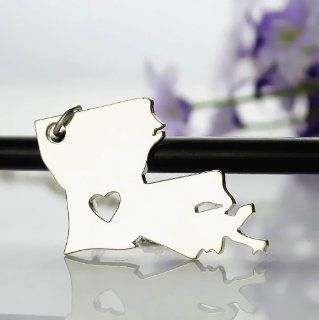 Sterling Silver State Love Heart Necklace   Louisiana State Necklace with heart Love Map Necklace State Jewelry Kitchen & Dining