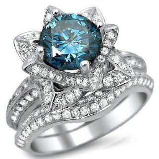 3.0ct Blue Round Diamond Lotus Flower Engagement Ring Set 14k White Gold With a 1.55ct Center Diamond and 1.45ct of Surrounding Diamonds: Jewelry