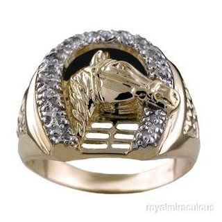 Mens Diamond Horseshoe Ring LUCKY 14K Yellow or White Gold: Jewelry