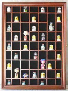 59 Opening Souvenir Thimble Small Miniature Display Case Cabinet Rack Holder, Glass Door, SOLID WOOD Walnut Finish TC01 WA   Sports Related Display Cases