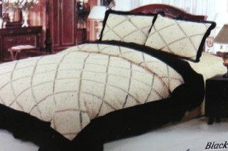 3pc Embroidery Black Amany Bedspread Set Quilt King Size