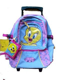 Looney Tunes Tweety Bird large Rolling Backpack w/ wallet Toys & Games