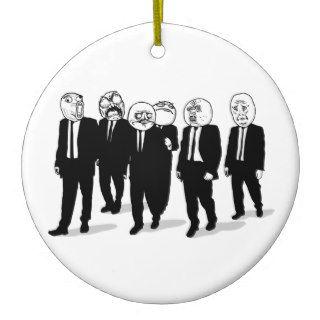 Rage Comic Meme Faces Walking. Me Gusta. Christmas Tree Ornament