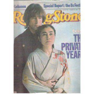 Rolling Stone Magazine Oct.14, 1982 Issue 380 John Lennon, Yoko Ono Cover Books