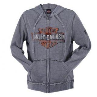 Harley Davidson Overseas Tour Grunge Zip Up Hoodie Womens: Clothing