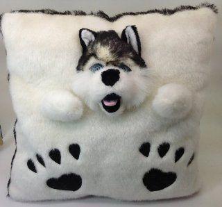 Faux Fur 3 D Legends Husky Dog Throw Pillow Plush