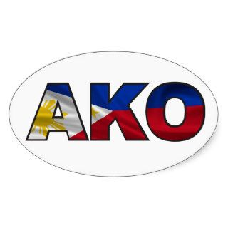 AKO  Philippines Flag Oval Stickers