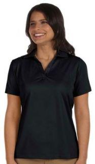 Harriton Women's V Neck Collar Polo Shirt. M354W: Clothing