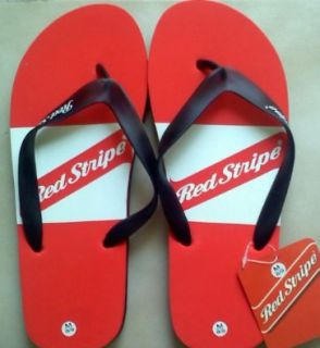 Red Stripe Beer Logo Flip Flops Sandals: Shoes