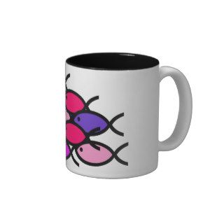 School of Christian Fish Symbols   Pink Coffee Mugs