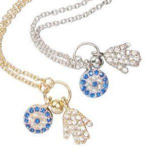 WIIPU hand evil eye turkish evil eye jewelry women crystal necklace(wiipu B396) (golden): Jewelry