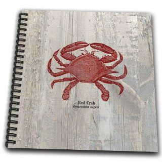 db_99167_1 PS Beach   Red Crab on Wood  Beach Themed Art  Fish   Drawing Book   Drawing Book 8 x 8 inch