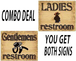 Restroom Bathroom His and Hers signs Cowboy style vintage 399