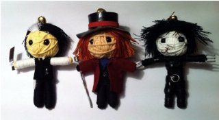 String Doll World Johnny Depp Set 3 x Voodoo String Doll Keychain Sweeney Todd, Willy Wonka, Edward Scissorhands: Toys & Games