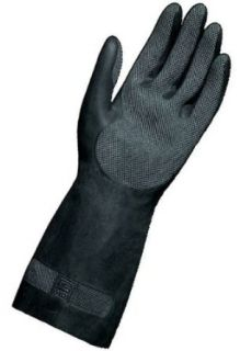 """MAPA Technic NS 401 Neoprene and Natural Latex Glove, Chemical Resistant, 0.022"""" Thickness, 12 1/2"""" Length, Size 7, Black (Bag of 12 Pairs) Industrial & Scientific"""