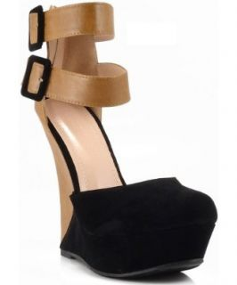 Liliana Monaco 2 Two Tone Ankle Strap Platform Wedge BLACK: Shoes