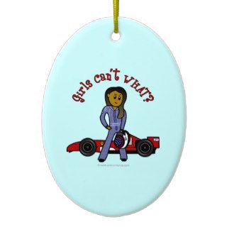 Dark Race Car Driver Girl Christmas Ornament