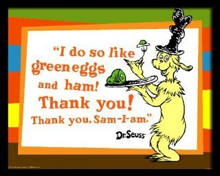 Green Eggs and Ham with quote, 16 x 20 Poster Print, Framed