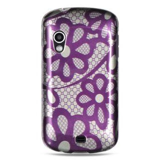 VMG Samsung Stratosphere i405 Hard Design Case   Purple Silver Laced Daisy Flower Floral Design Hard 2 Pc Plastic Snap On Case Cover for Samsung Stratosphere i405 Verizon Wireless Cell Phone [In VANMOBILEGEAR Retail Packaging]