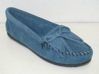 Women's Minnetonka Kilty Mocassins #407F  Blue Suede (10, Blue Suede) Shoes