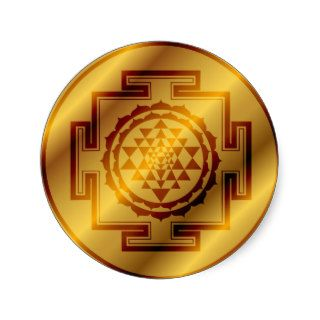 Golden Sri Yantra Round Sticker