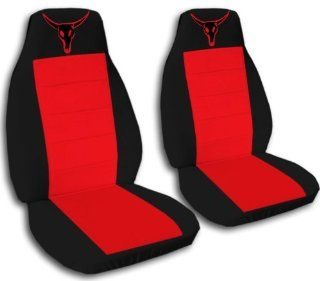 1997 Jeep Wrangler TJ seat covers. One front set of seat covers. Black and red seat covers with a red bull skull.: Automotive