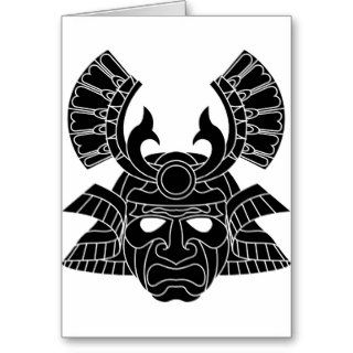 Monochrome samurai mask greeting cards