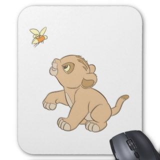 Lion King Simba cub baby chasing flying bug inect Mouse Pad