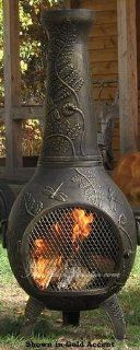 Outdoor Chimenea Fireplace   Dragonfly in Gold Accent Finish (Without Gas): Patio, Lawn & Garden