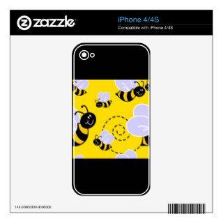 YELLOW BLACK BUZZ BEE HONEYBEE CARTOON CUTE DECALS FOR THE iPhone 4