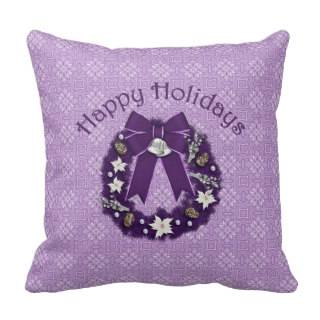 Lovely Formal Christmas Holiday Wreath   Personali Throw Pillow