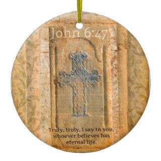 Christian Biblical Quote Renaissance Cross Christmas Tree Ornament