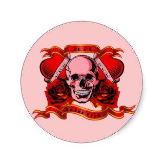 Valentine Tattoo Skull Hearts Round Stickers
