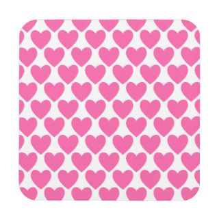 Simple Pretty Pink Polka Heart Wallpaper Pattern Coasters
