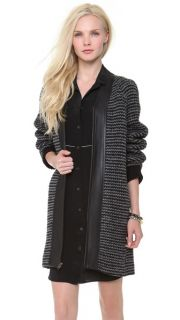 10 Crosby Derek Lam Oversized Coat with Leather Trim