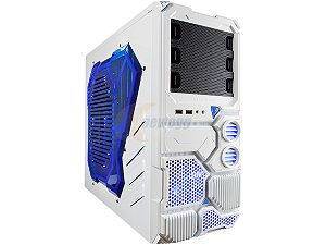 APEVIA X Sniper X SNIPER2 WHT White Steel ATX Mid Tower Computer Case w/ Side Window Blue