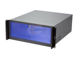 "iStarUSA D416 3DE1BL BL Black Aluminum / Steel 4U Rackmount Compact Stylish Server Case   Blue Front Bezel 3 External 5.25"" Drive Bays"