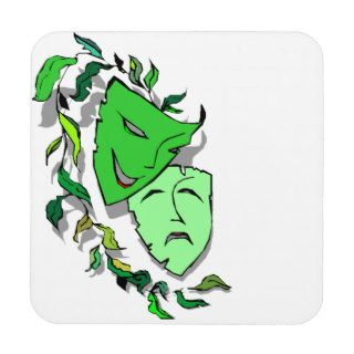 Coasters Gift Theatre Comedy Tragedy Masks Green
