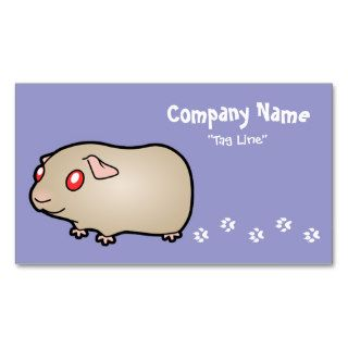 Cartoon Guinea Pig (lilac with red eyes) Business Cards