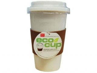 DCI I Am Not a Paper Cup Single Wall Porcelain Travel Cup with Lid and Sleeve