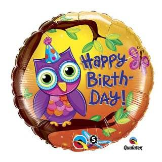 18 Happy Birthday Owl on Tree Branch W/big Blue Eyes Mylar Balloon