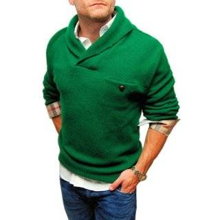 Polo Ralph Lauren Mens Blue Green Wool Shawl Cable Sweater